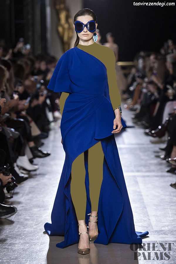 لباس مجلسی رومی دنباله دار آبی تیره