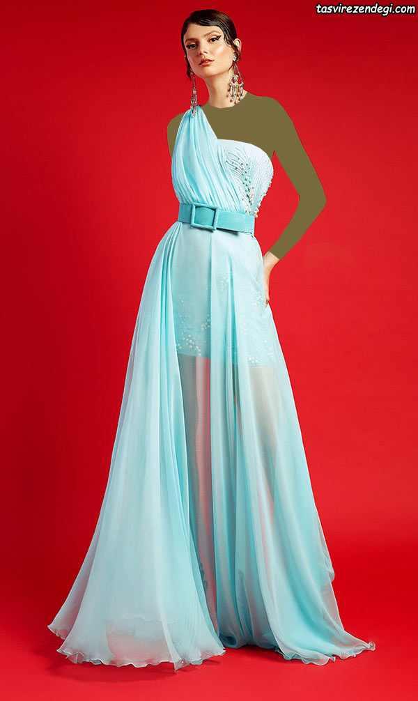 لباس مجلسی رومی یقه یک طرفه حریر آبی روشن