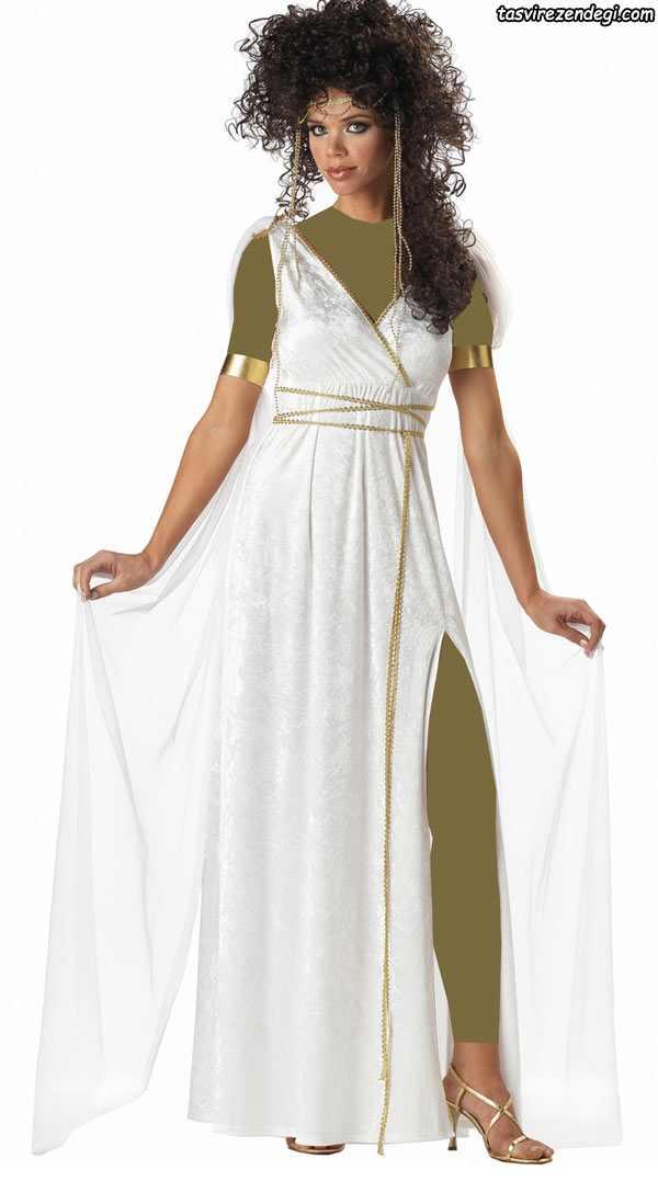 لباس مجلسی رومی یونانی سفید طلایی