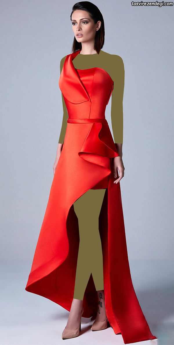 لباس مجلسی رومی قرمز پشت بلند