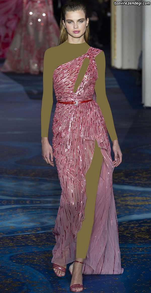 لباس مجلسی رومی یقه یک طرفه