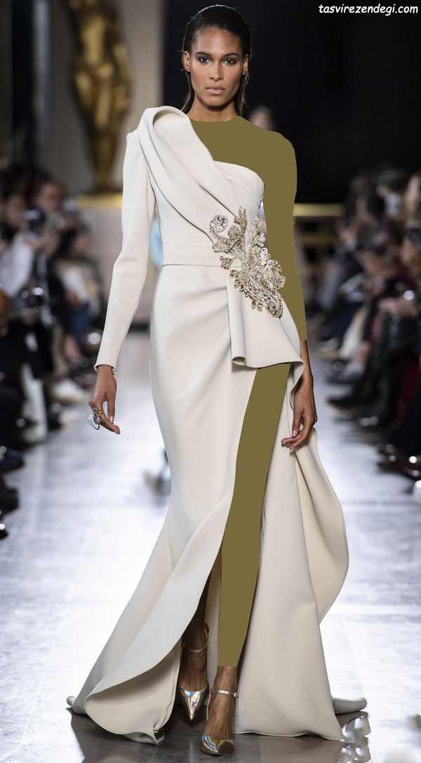 لباس مجلسی رومی سفید یک طرفه