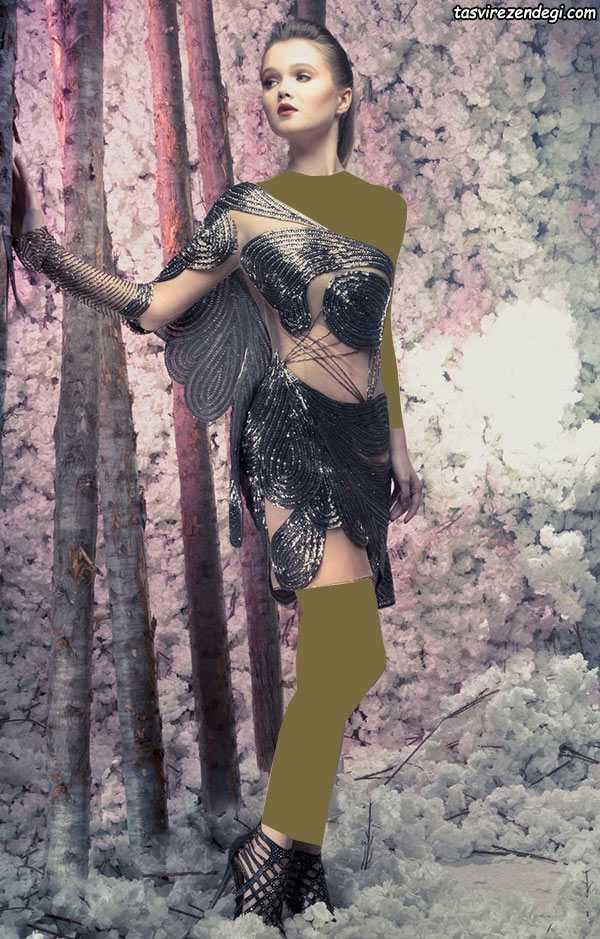 لباس مجلسی رومی یقه یک طرفه کوتاه