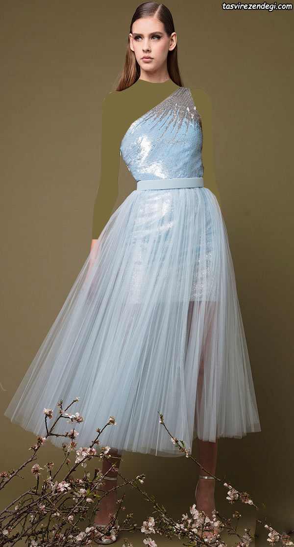 لباس مجلسی رومی یقه یک طرفه حریر آبی