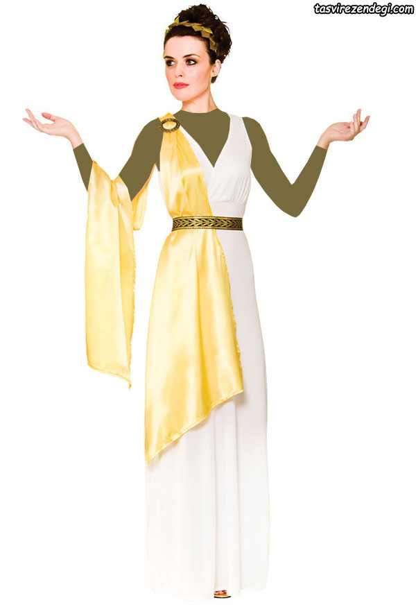 لباس مجلسی رومی یونانی والان دار سفید