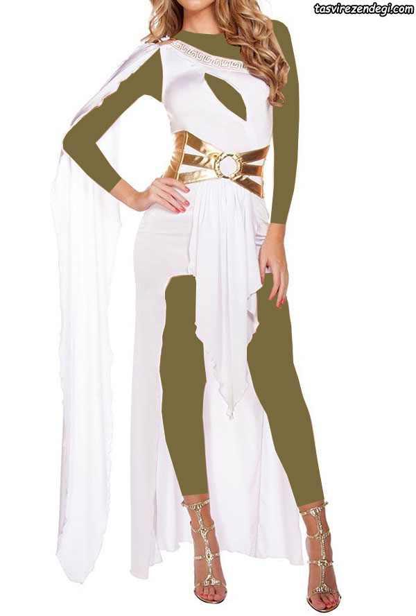 لباس مجلسی رومی یقه یک طرفه والان دار سفید