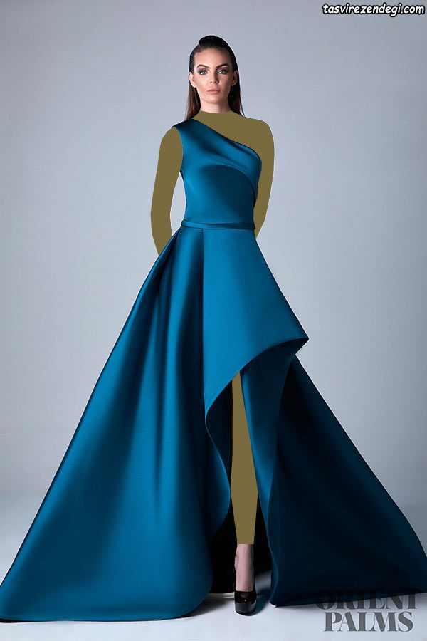 مدل لباس مجلسی رومی یقه یک طرفه آبی