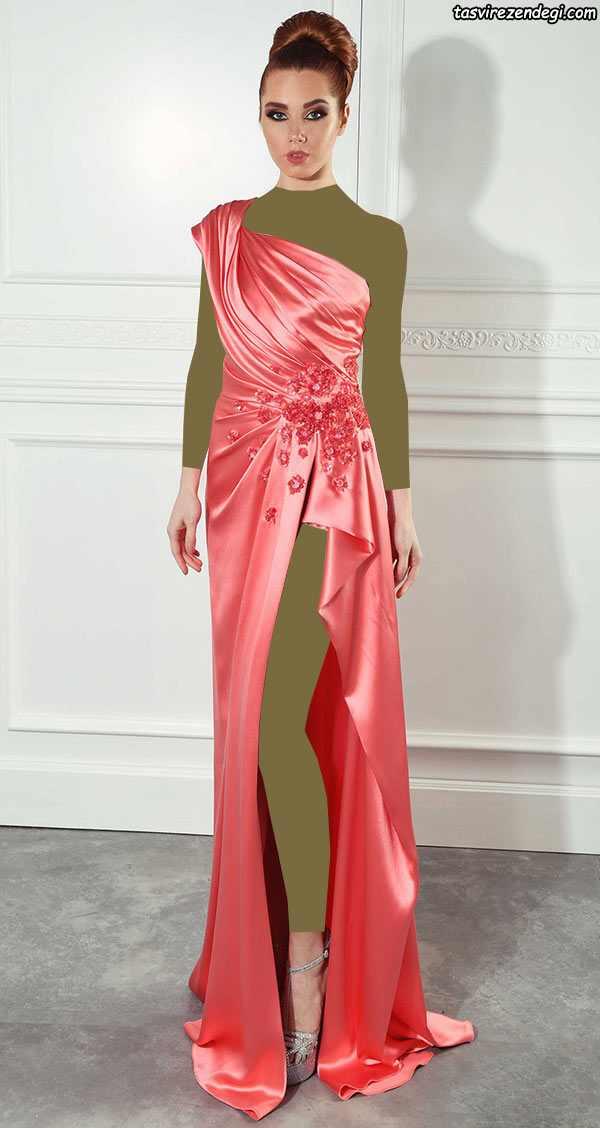 مدل لباس مجلسی رومی یقه یک طرفه مرجانی