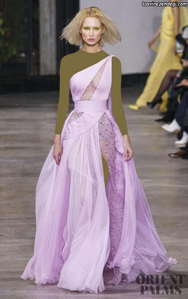لباس مجلسی رومی یقه یک طرفه صورتی