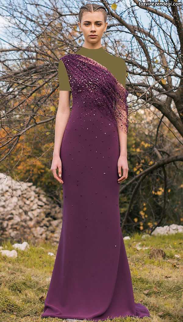 مدل لباس مجلسی رومی یقه یک طرفه