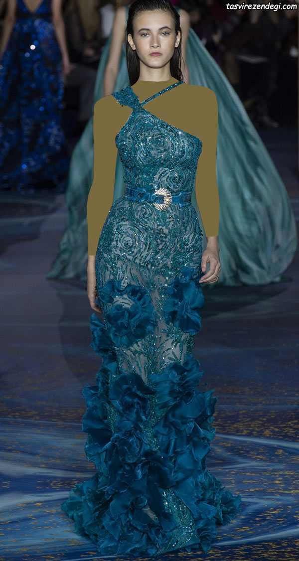 مدل لباس مجلسی رومی یقه یک طرفه گیپور