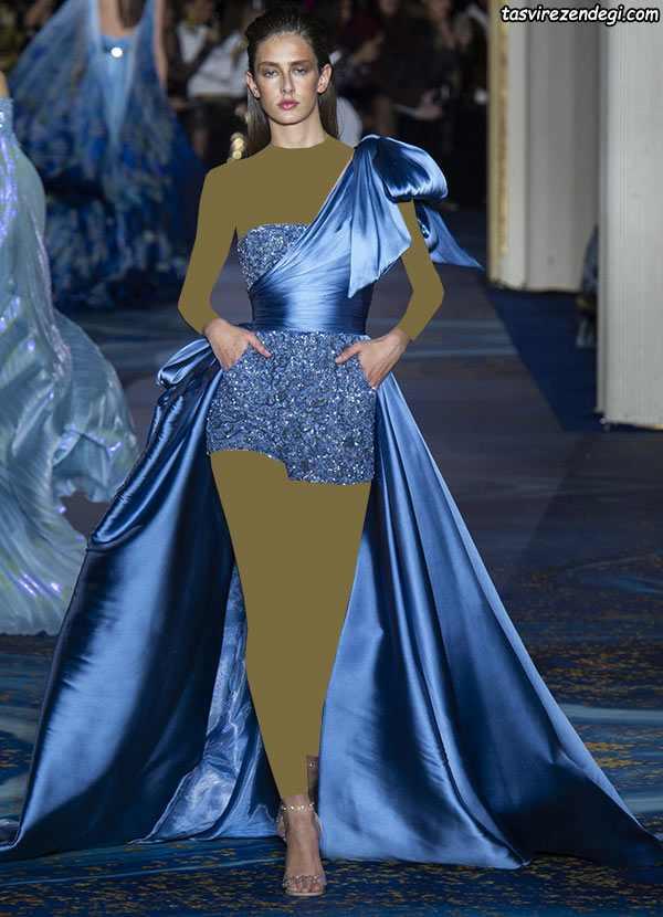 مدل لباس مجلسی رومی یقه یک طرفه آبی ساتن