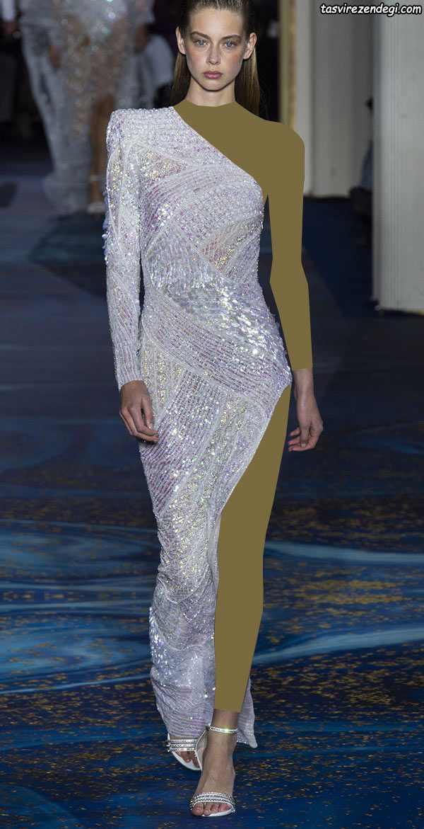 مدل لباس مجلسی رومی آستین یک طرفه