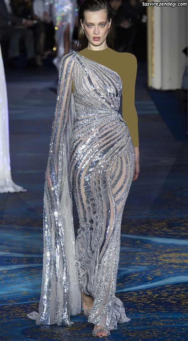 مدل لباس مجلسی رومی یقه یک طرفه نقره ای