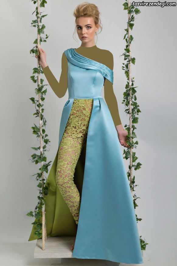 مدل لباس مجلسی رومی یقه یک طرفه آبی و سبز