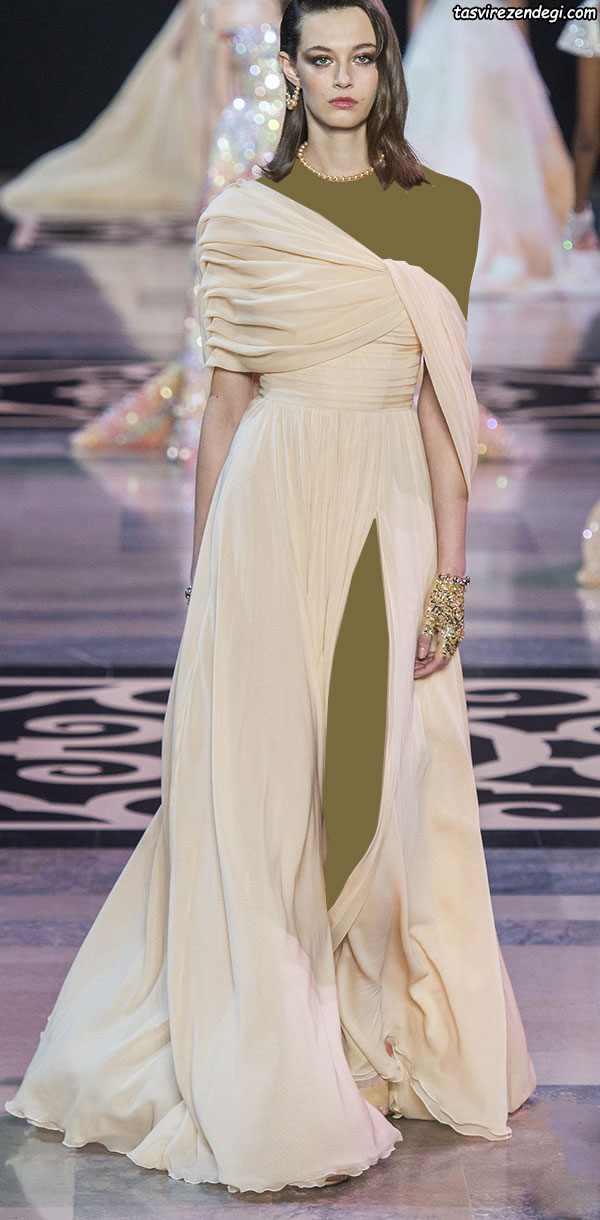 لباس مجلسی رومی یقه یک طرفه والان دار