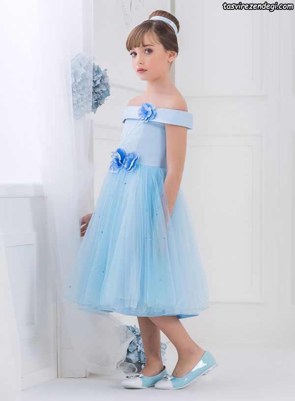 مدل لباس مجلسی حریر آبی دختر بچه
