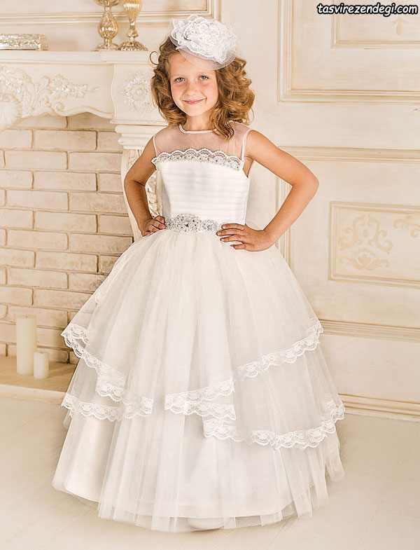لباس عروس بچگانه , لباس سفید مجلسی دخترانه سفید