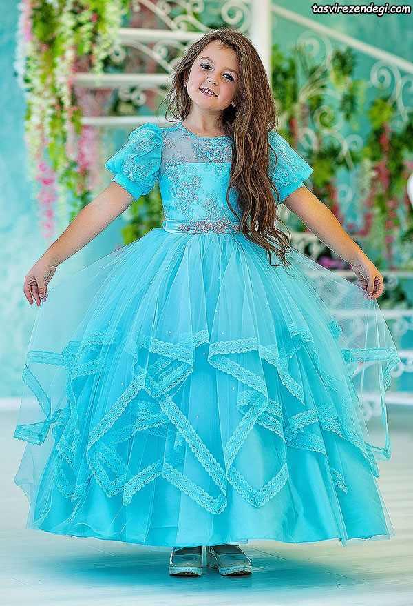 لباس مجلسی دخترانه پرنسسی آبی دامن پفی