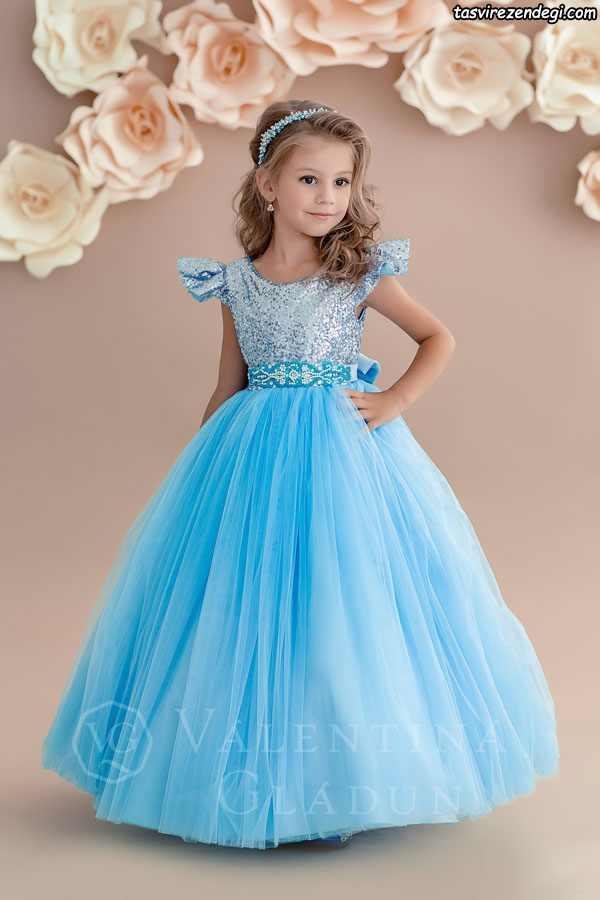 مدل لباس مجلسی آبی پرنسسی دختر بچه