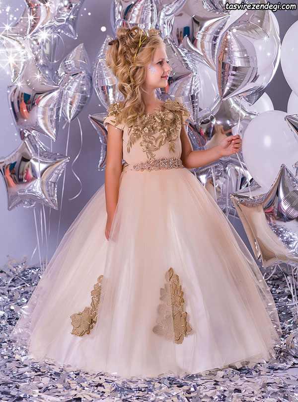 لباس مجلسی دخترانه پرنسسی حریر