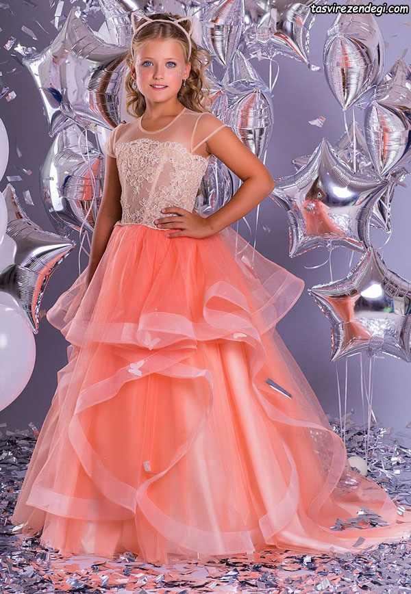 مدل لباس دامن پفی مجلسی دختر بچه