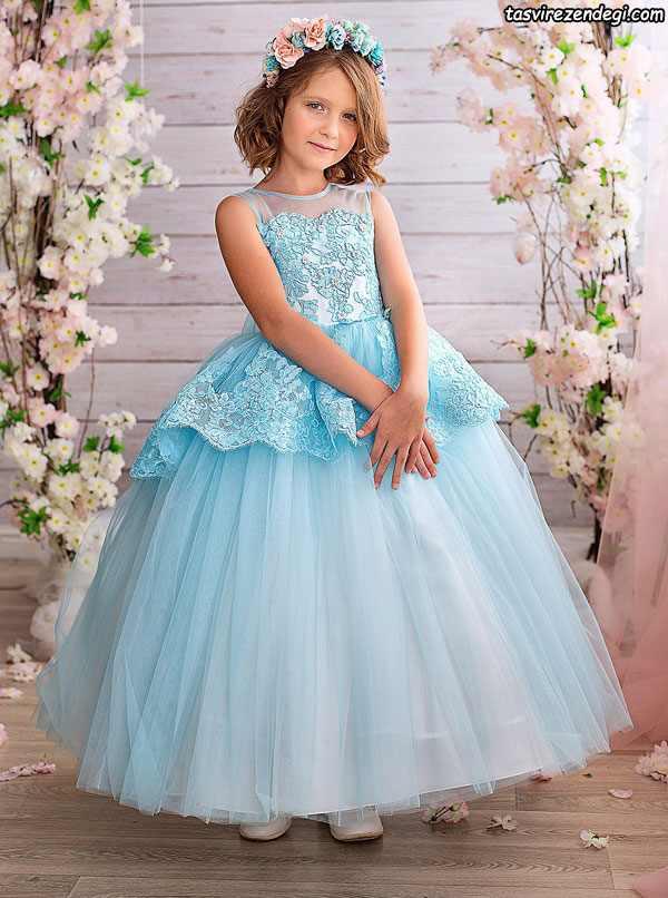 لباس مجلسی پرنسی آّبی دخترانه