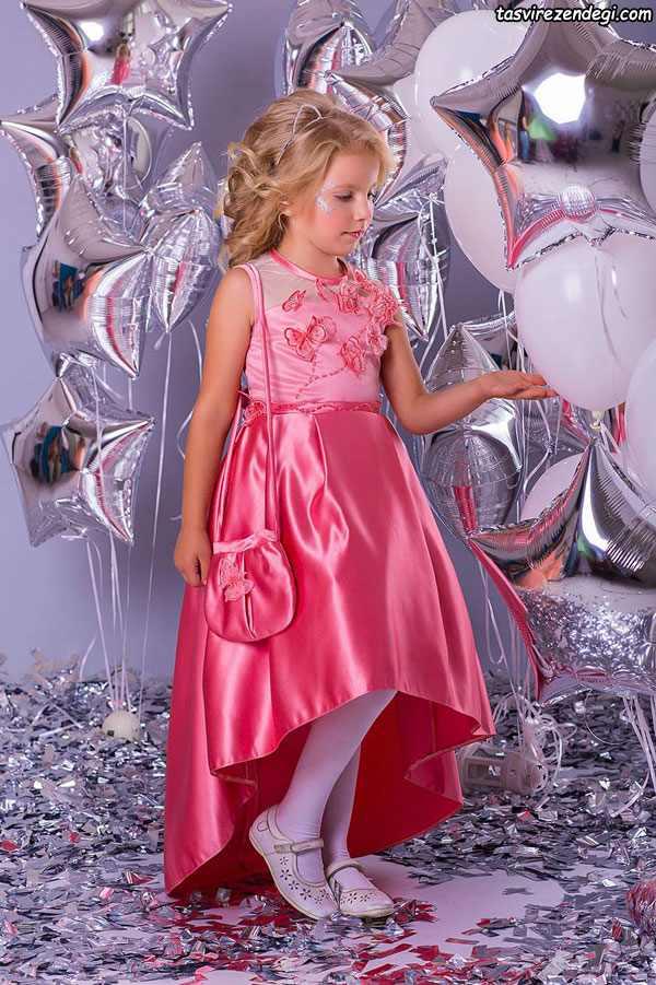 لباس مجلسی دخترانه صورتی