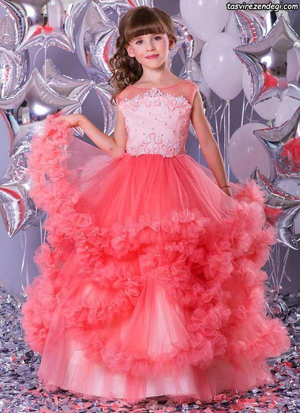 مدل لباس مرجانی مجلسی دامن پفی دختر بچه