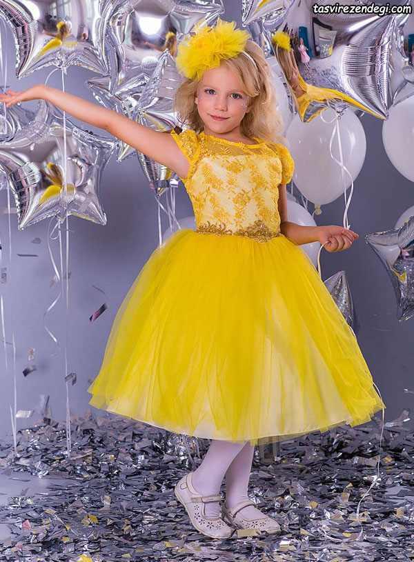 مدل لباس مجلسی پرنسسی زرد دختر بچه