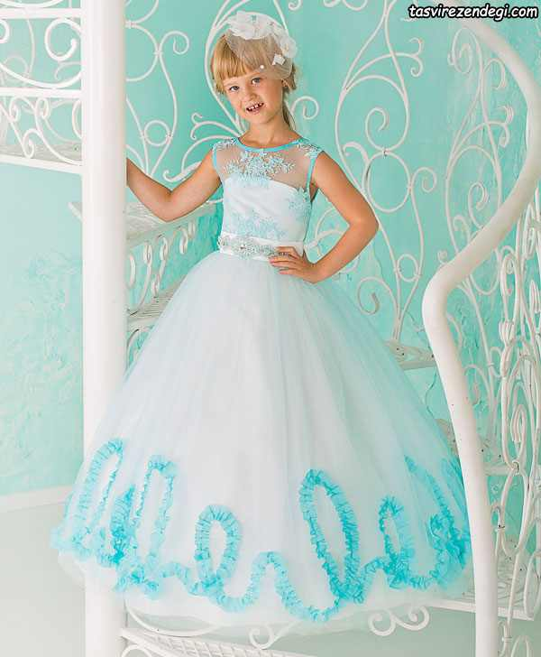 لباس مجلسی دخترانه حریر سفید