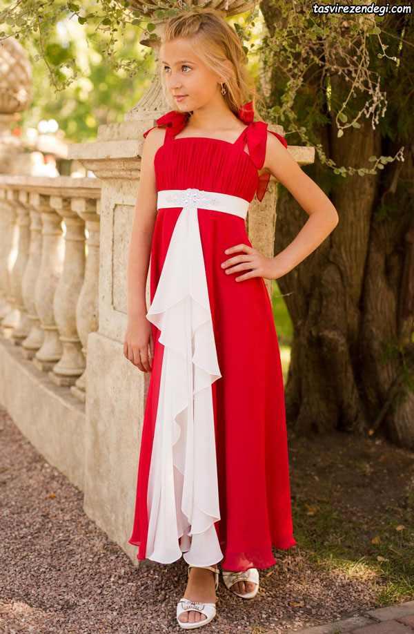 لباس مجلسی دخترانه قرمز و سفید