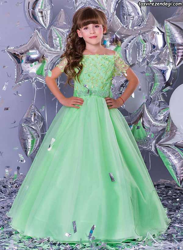 لباس مجلسی پرنسسی سبز روشن