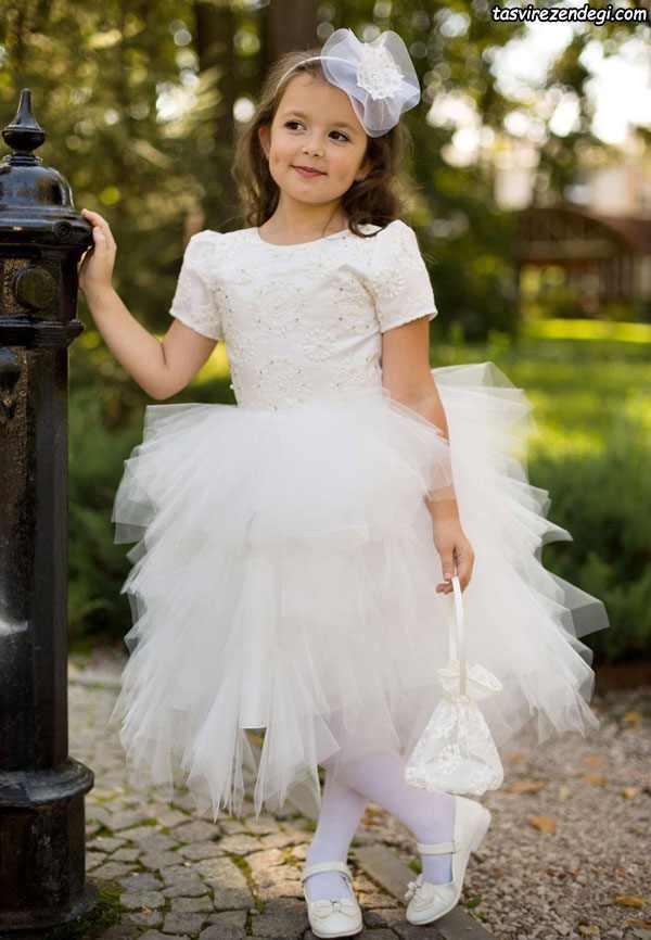 پیراهن عروس سفید مجلسی دختر بجه