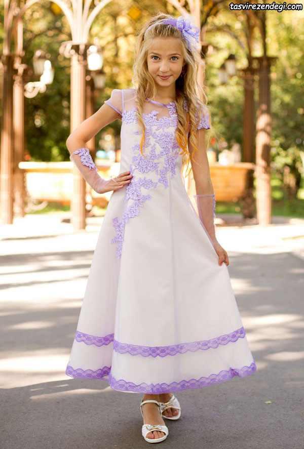 لباس مجلسی دختر بجه حریر سفید