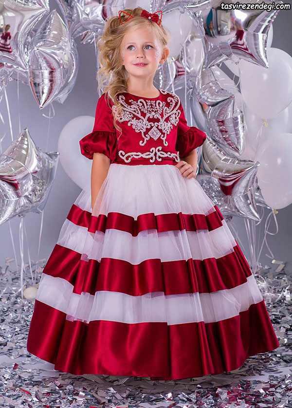 لباس مجلسی قرمز و سفید دامن پفی دختر بجه