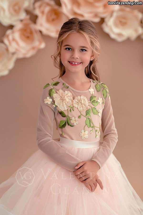 مدل لباس مجلسی دامن پفی حریر دختر بچه