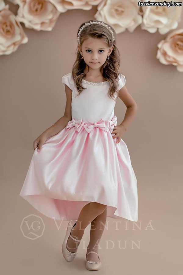 مدل لباس مجلسی صورتی دختر بچه