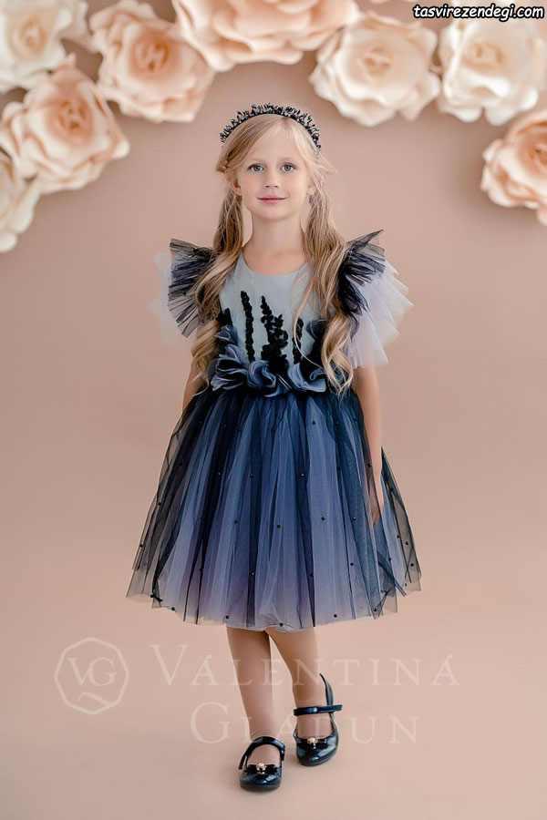 مدل لباس مجلسی تور حریر دختر بچه