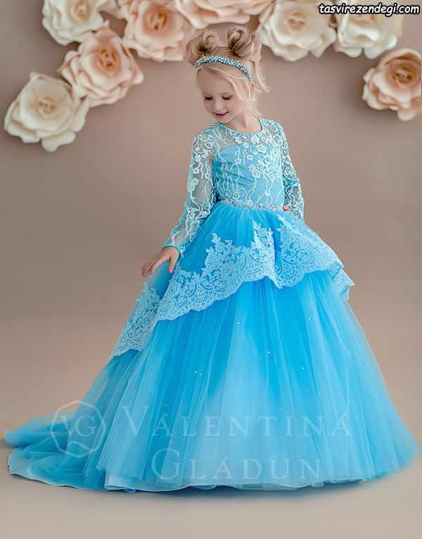 لباس مجلسی دخترانه پرنسسی آبی گیپور