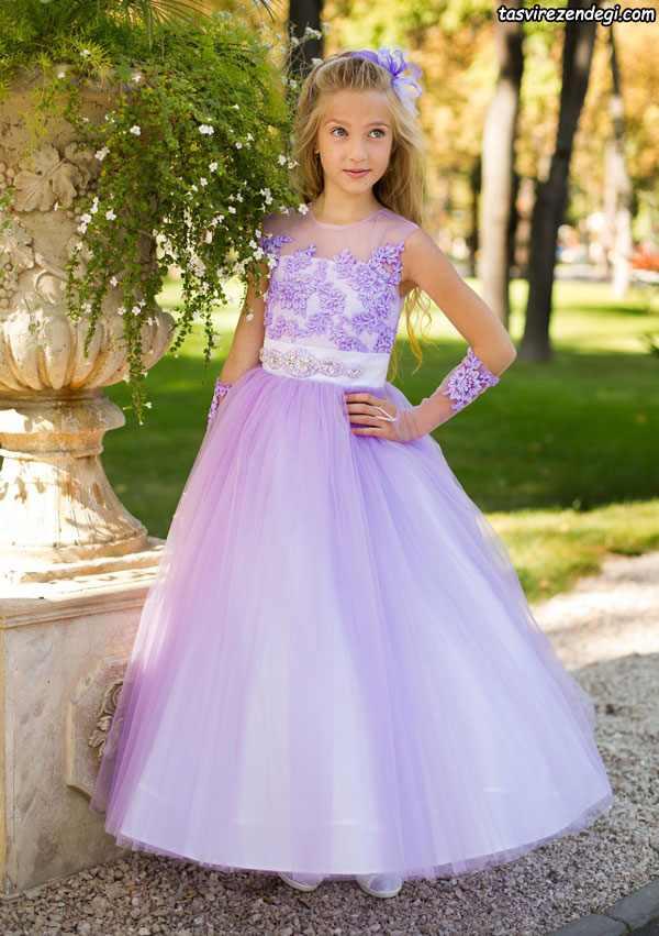 لباس مجلسی حریر یاسی دختر بچه
