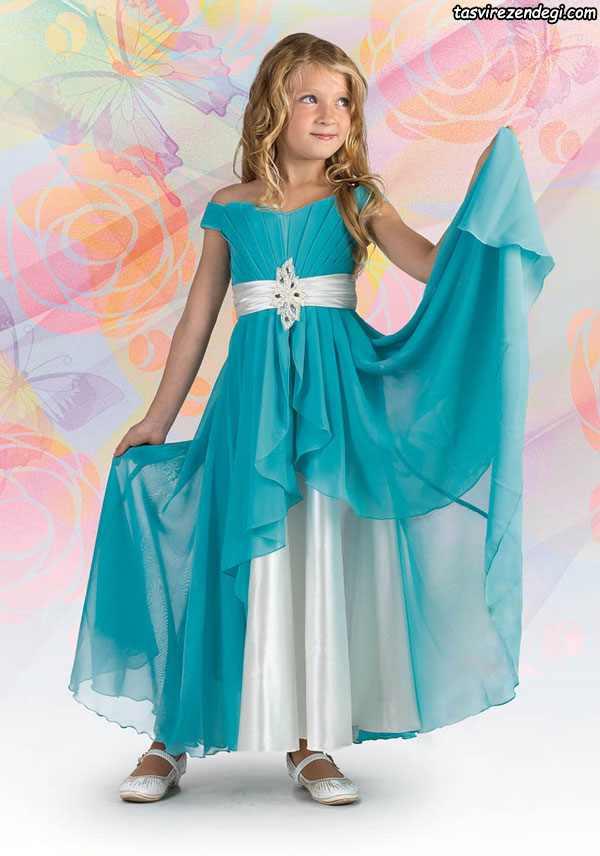 مدل لباس مجلسی آبی حریر دختر بچه