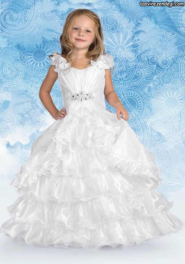 مدل لباس عروس سفید مجلسی دختر بچه