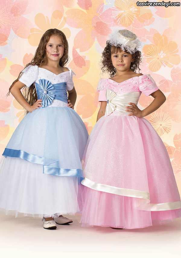 مدل لباس مجلسی آبی و صورتی دختر بچه