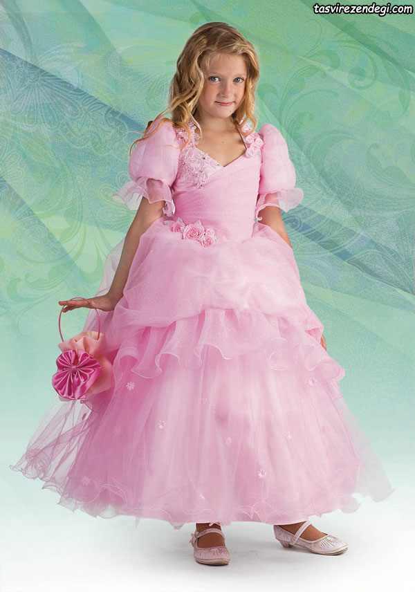 مدل لباس مجلسی صورتی پرنسسی دختر بچه