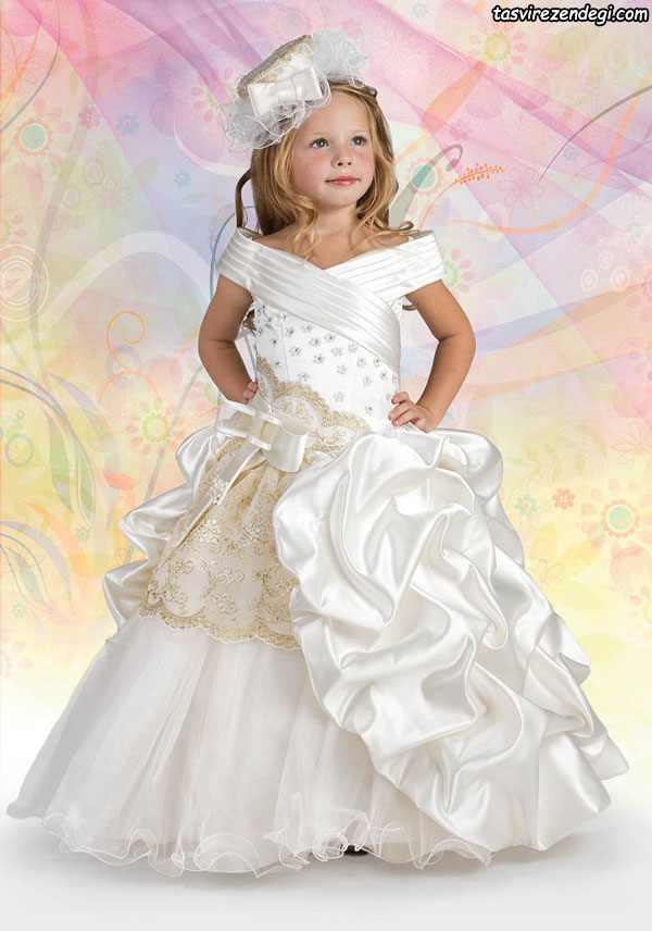 مدل لباس مجلسی سفید عروس دختر بچه