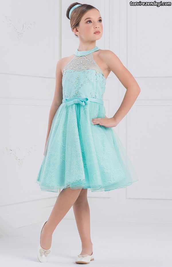 مدل لباس مجلسی فیروزه ای دختر بچه