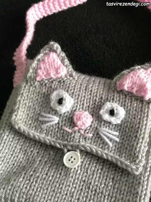 مدل کیف دخترانه بافتنی گربه