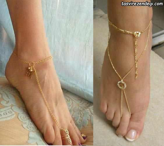 مدل پابند خلخال انگشتی زنجیر طلا