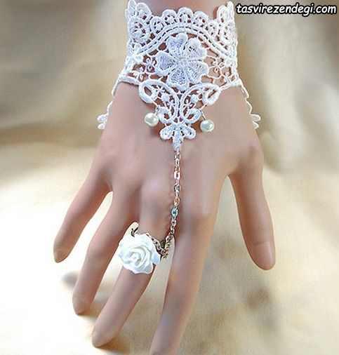 مدل دستبند انگشتری تمیمه عروس گیپور سفید